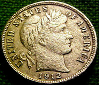 1912 BARBER Dime 10 Cents 10c ~ NICE COIN w/ SOLID DETAILS LIBERTY ~ 03PS