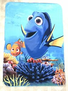 "Finding Dory Nemo Disney Blanket Fleece Throw 41""x59"" Blue Ocean Coral Reef"