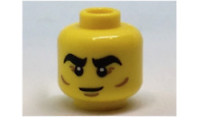 LEGO Yellow Minifig, Head Black Thick Eyebrows, Reddish Brown Crow's Feet