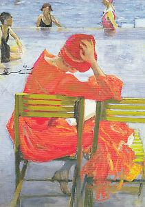 Postkarte/ Postcard: John Lavery - Lesendes Mädchen im roten Kleid