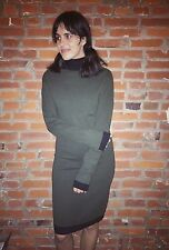 Vintage Wool Sweater Dress Womens Mock Neck Black Green Knee Length LS (1184)