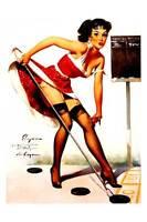 "Vintage GIL ELVGREN Pinup Girl CANVAS ART PRINT Poster Shuffleboard 16""X 12"""