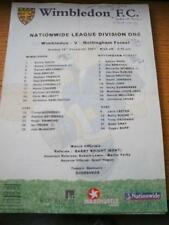 16/12/2001 Colour Teamsheet: Wimbledon v Nottingham Forest (Folded, Writing On F