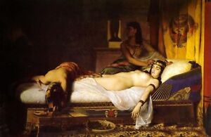 Huge art no framed and stretch Oil painting The Death of Cleopatra on the bed
