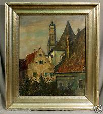 19th Century German Oil Painting of Church & Village, signed Adolf Frey-Moock