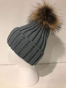 Women Girl Winter Real Raccoon Fur XL Pom Pom Soft Wool Knitted Beanie Cuff Hat