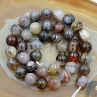 Grade AAA Natural Smooth & Faceted Botswana Agate Gemstone Round Beads 15''