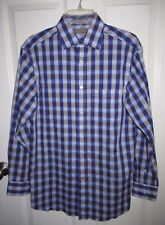 Daniel Cremieux Signature Collection Blue Gray Checkered Dress Shirt Small NWOT