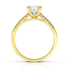 DS-R-51-158 GIFT 1.10 CT H SI2 PRINCESS DIAMOND RING SPLITSHANK 18K YELLOW GOLD