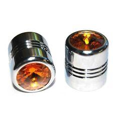 2 Chrome Amber Gem Valve Stem Caps for Motorcycle & Car Wheel Air Tire Rims