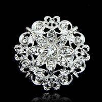 Wedding Jewelry Diamante Crystal Rhinestone Brooch Pin Bridal Dress Accessory