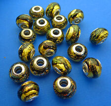 14mm Black & Gold Dichroic Murano Glass Spacer Bead 925 Sterling Silver Core 1pc