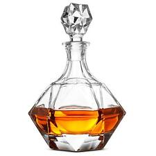 Glass Whiskey Liquor Decanter - High-End Modern Wine Decanter Weighted Bottom