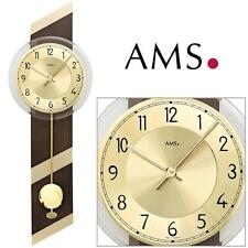 AMS 44 Wall Clock Quartz with Pendulum Wooden Housing Living Room 624