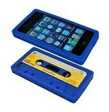 Funda Carcasa Silicona IPHONE 4 4G 4S Diseño Cassette K7 Azul