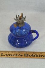 lamp whale oil cobalt blue blown glass finger antique original 19thc