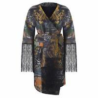 Biba Womens Jacquard Kimono Wrap Dress V Neck Pattern Floral
