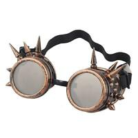 Steampunk Goggles Bronze with Brown Lenses Spike Cyber Vintage Retro Glasses UK