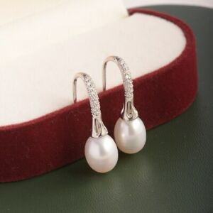 Ohrringe Ohrhänger 925er Sterling Silber Süßwasser Perle Rhodiniert Ohrschmuck