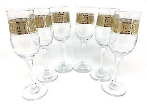 Crystal Glass Set of 6 Champagne Flute Wine  Glasses 7 oz  Gold Rimmed Design