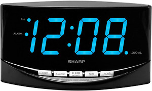 """SHARP Easy to See Alarm Clock with Jumbo 2"""" Numbers - Bright Blue LED Display"""