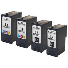 4 pk for Lexmark Ink 18C0032 18C0033 32/33 Combo Black & Color Set Printer
