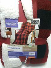 Sherpa Throw Blanket Better Homes Gardens Plush Buffalo Check Plaid 50 x 60 New