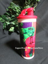 Tupperware New Spiderman Hulk Marvel Heroes Tumbler 16 oz Red Flip Top SEAL