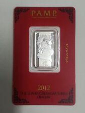 PAMP Suisse Lunar Calendar Dragon 2012 10 g gram .999 Silver Bar NICE S/N 003999