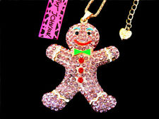 Christmas Pendant Sweater Chain Necklace Betsey Johnson Smile Snowman's Crystal