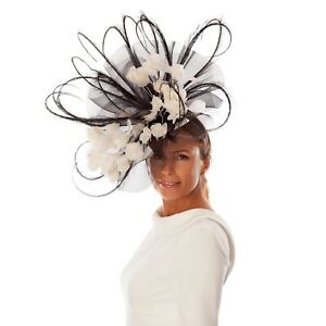 Black & White Floral Feather Fascinator / Hat- Wedding, Ascot, Races