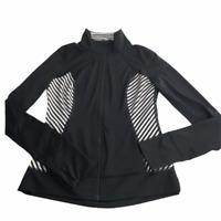 Nordstrom Zella Full Zip Jacket Black / White Striped.  Size Women's Small.