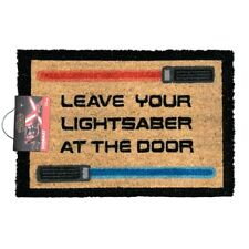STAR WARS CLASSIC 'LEAVE YOUR LIGHTSABER' COIR DOOR MAT - OFFICIAL LICENSED *NEW
