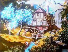 "Needlepoint tapestry canvas.Village 60x75cm (24""x30"") Gobelin L 10.532"
