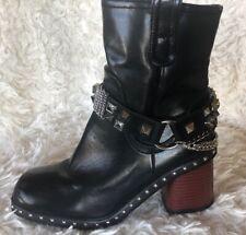 Black Chain Studded Embezzled Biker Style Women's Boots
