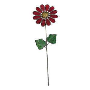 Garden stake stained glass red flower yard outdoor home decor art glass