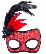 Masquerade Mask Red Black Lurex Glitter with Black beading and feathers