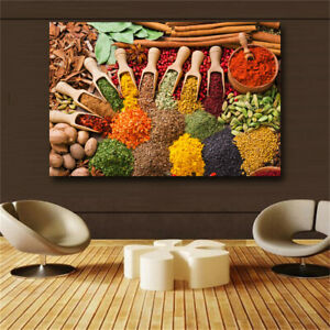 Grains Spices Spoon Kitchen Food Canvas Painting Cuadros Scandinavian Posters