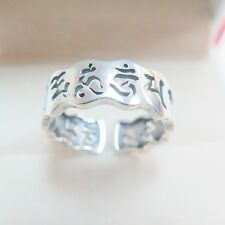 Pure 925 Sterling Silver Ring Band 7mm Buddhist Bless Words Ring Band Size 6-7