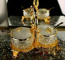Vtg Ornate Swan&Bows Gold Relish Condiment Server Dish Rococo Hollywood Regency