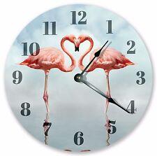"""10.5"""" ROMANTIC FLAMINGOS HEART PORTRAIT CLOCK   - Large 10.5"""" Wall Clock 3352"""