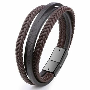 Men Stainless Steel Buckle Leather Bracelet Bangle Cuff Vintage Wristband Rope