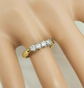 Vintage 18ct Gold Anniversary Eternity 4 Sone Diamond Ring .33ct Size L1/2 NICE1