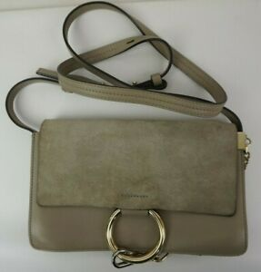 Chloe Small Faye Suede & Leather Motty Grey Gray Crossbody Bag Purse....