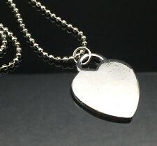 Plain Silver Heart Pendant Necklace 80cm LONG CHAIN Anti-tarnish Large Shiny