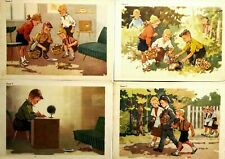 1950s Posters Set 4 pcs Russian Children and Hedgehog illustrations
