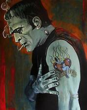 Broken Hearted by Mike Bell Tattoo Art Print  Frankenstein Love Lost  Monster