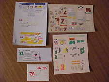 Five 1/64 DALE EARNHARDT JR, RUSTY WALLACE, ALAN KULWICKI, HUT STRICKLIN DECALS