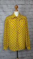 Jaeger Yellow Pussy Bow Blouse Shirt Black Polkadots Silky Size S M VGC