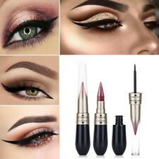 Hot 2in1 Waterproof Black Liquid Eyeliner Pen Metallic Shimmer Eye Shadow Makeup